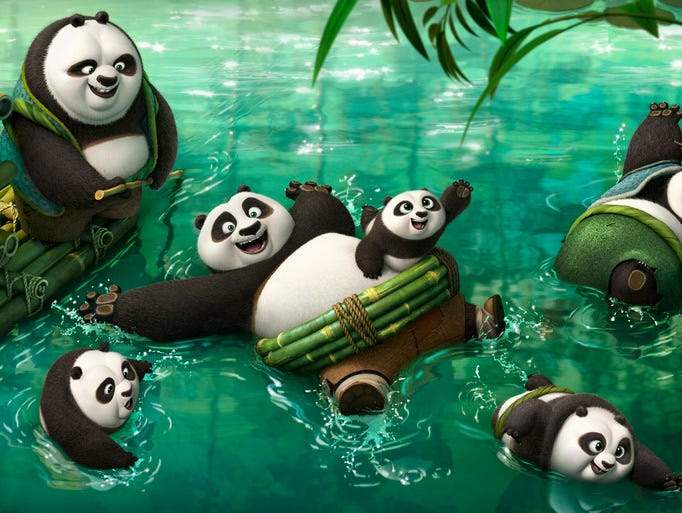 Kung Fu Panda Po (center) finds out he's not the only
