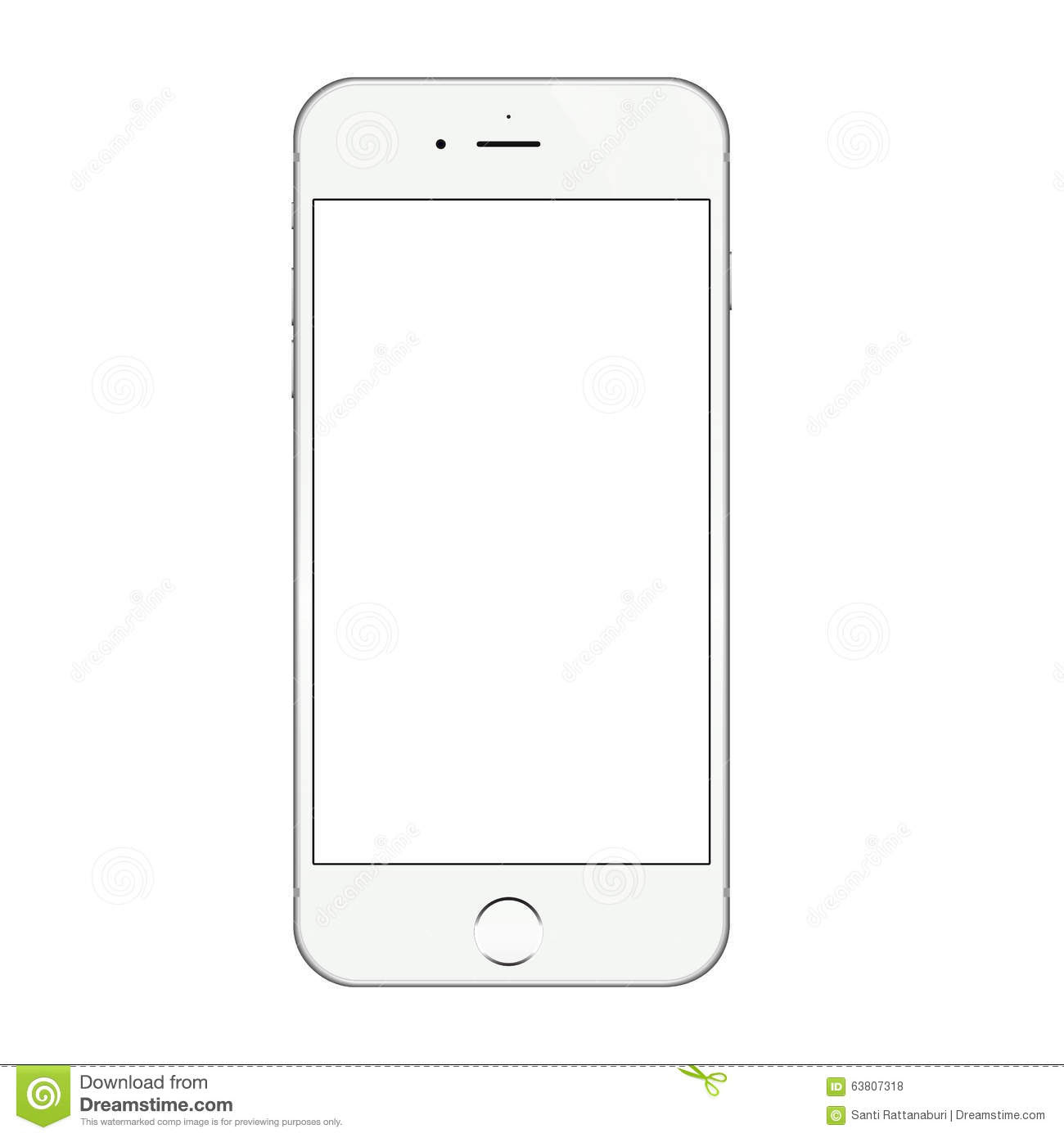 Realistic White Iphone 6 Blank Screen Vector Design Editorial ...