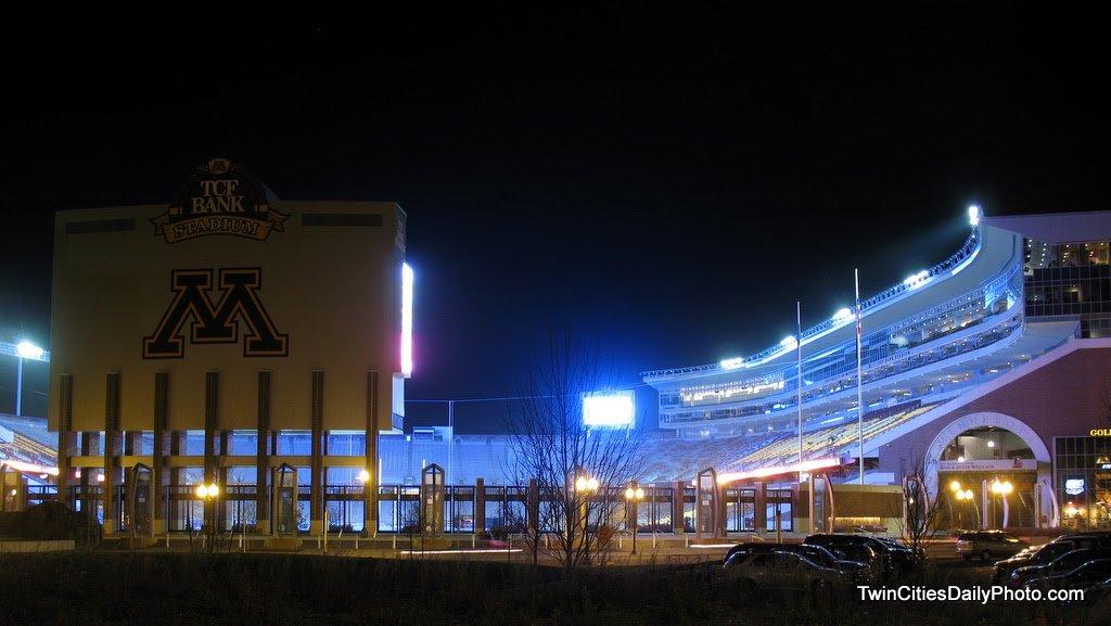 Nighttime photo of the TCF Bank Stadium, the new home of the Minnesota Gopher football team.