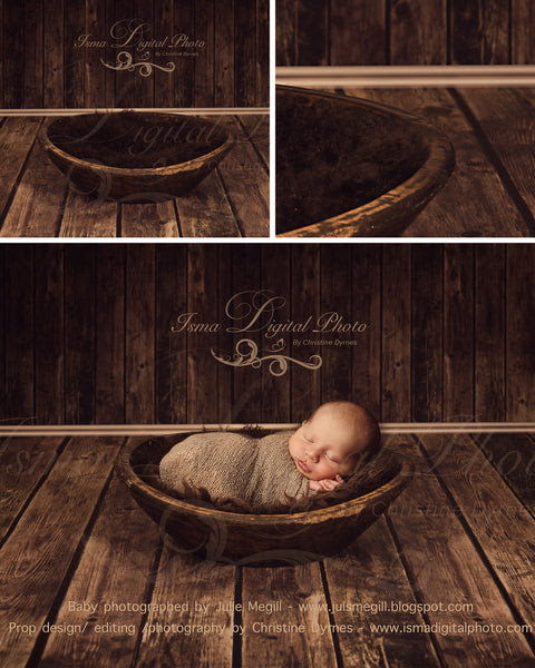 Handmade Wooden Bowl With Wooden Background 4 - Beautiful Digital Newborn Photography Props download - psd with Layers