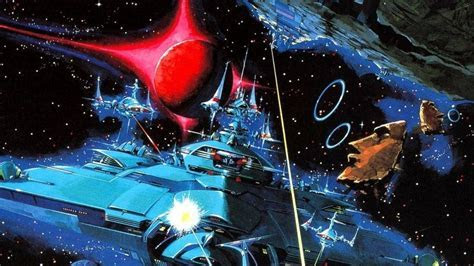 Planets spaceships battles science fiction artwork gradius