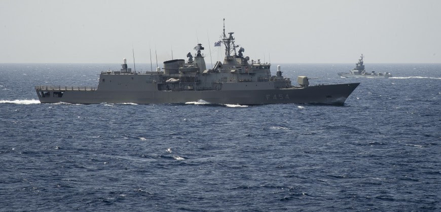 160404-N-FQ994-204 MEDITERRANEAN SEA (April 4, 2016) The Hellenic Navy Psara, F-454, front, sails past the Israeli Navy Keshet, Saar 4.5, while transiting the Mediterranean Sea as seen from the bridge wing of USS Porter (DDG 78) during Exercise Noble Dina April 4, 2016. Porter, an Arleigh Burke-class guided-missile destroyer, forward-deployed to Rota, Spain, is participating in Exercise Noble Dina 2016, an annual trilateral exercise conducted with Hellenic and Israeli forces to increase interoperability and tactical expertise in a number of warfare areas. (U.S. Navy Photo by Mass Communication Specialist 3rd Class Robert S. Price/Released)