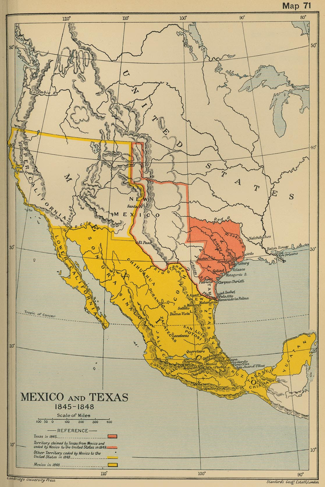 Map of Mexico and Texas 1845-1845