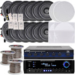 Pyle KTHSP370 5.25 in. 6-Room In-Wall & Ceiling Speaker System with Receiver