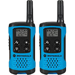 Motorola T100 Talkabout Alkaline 2-Way Radio, Neon Blue - 2 pack