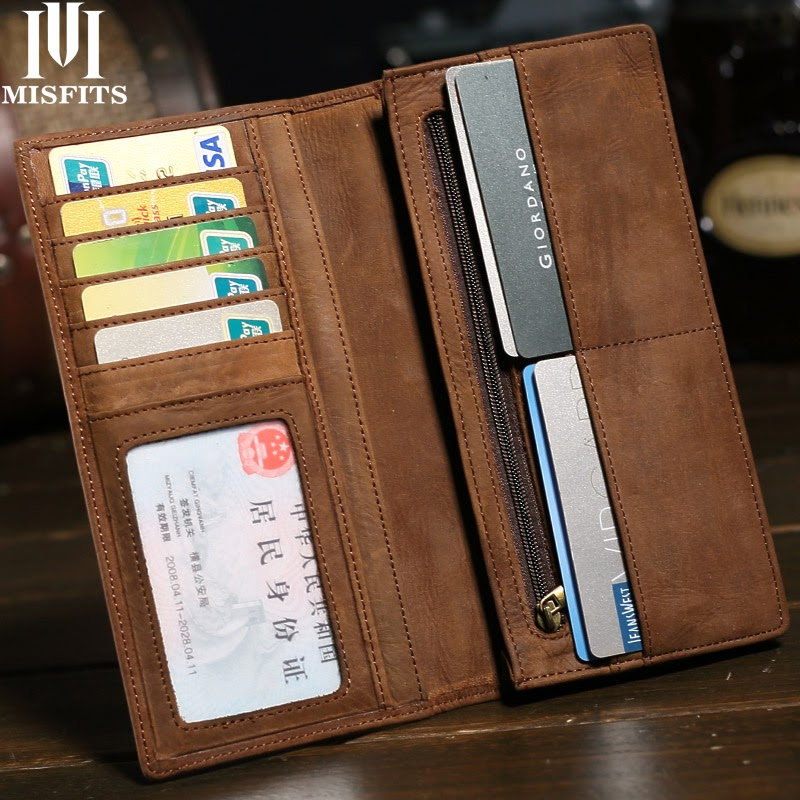 Recommended MISFITS Brand Mens Long Crazy Horse Leather Wallets Men Genuine Leather Wallet Clutch Vintage Male Purse Leather Purse Wallets