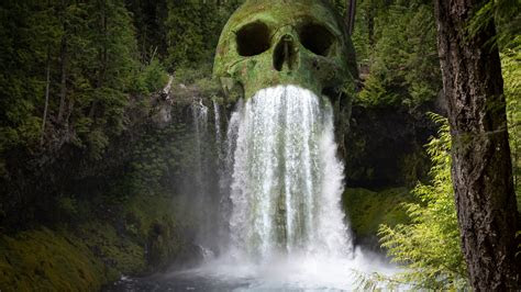 mystic skull waterfall forest   wallpapers hd