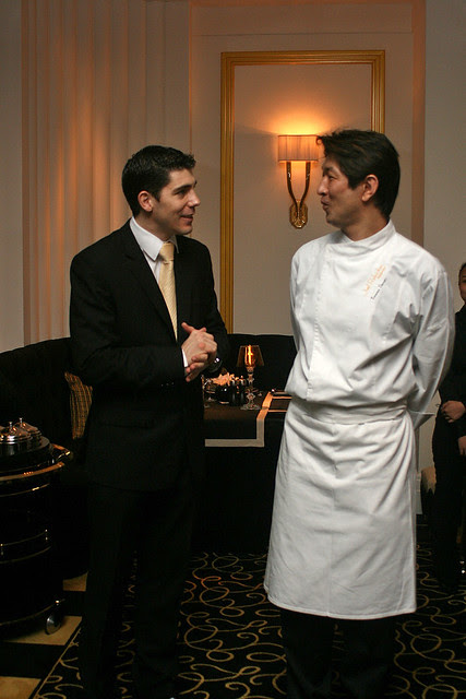 Guillaume Anglade, Restaurant Manager for Joël Robuchon Restaurant, with Executive Chef Tomonori Danzaki