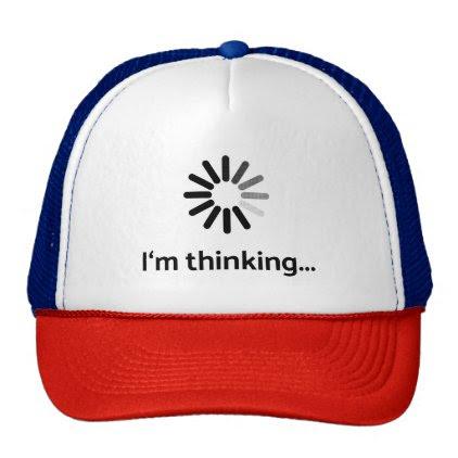 I'm thinking (loading | nerd) white background trucker hat