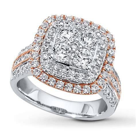 Diamond Engagement Ring 2 ct tw Diamonds 14K Two Tone Gold