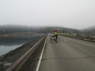 Jason in the dam at Hagg Lake