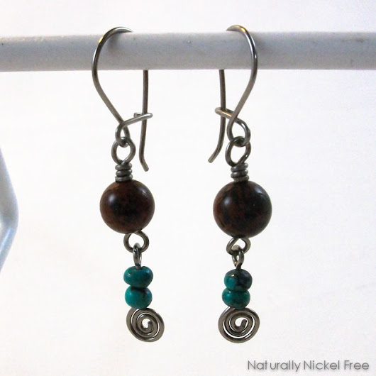 Mahogany Obsidian and Turquoise Niobium Earrings