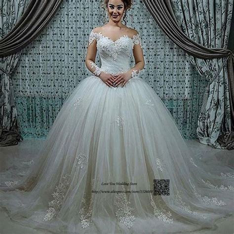 Princess Long Sleeve Lace Wedding Dresses Puffy Ball Gown