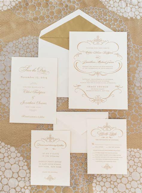 Gold and White Wedding Invitations   Stationery   Wedding