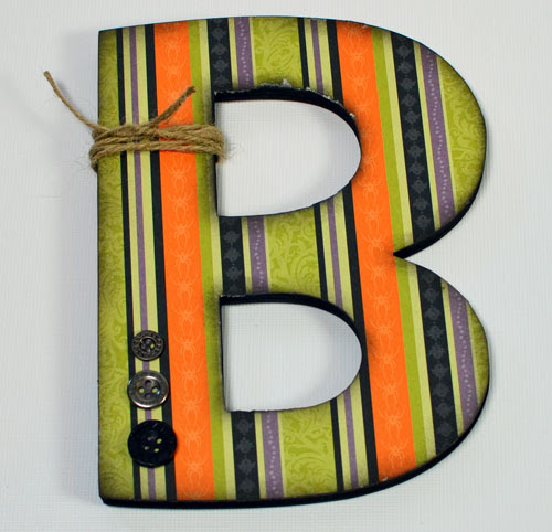 Chipboard Letter - finished with embellishments