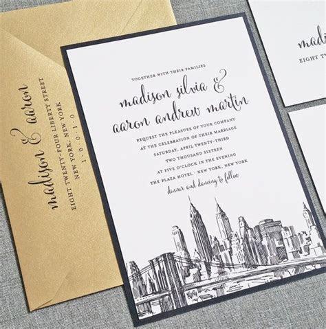 Madison New York Skyline Wedding Invitation Sample