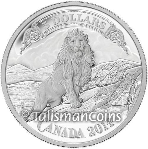Canada 2014 Canadian Bank Note Art Lion on Rocky Mountain Side $5 Silver Proof | ShopNetOne