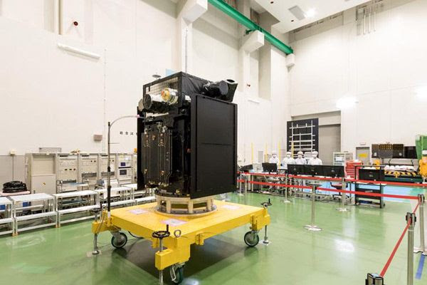 The Arase spacecraft on display to the media several months before its launch on December 20, 2016.