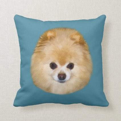 Brown and White Pomeranian Dog Throw Pillows