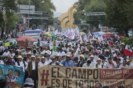 Campesinos marchan en el DF contra leyes energéticas. Foto: Octavio Gómez.