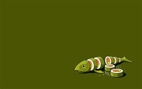 Minimalistic vectors funny sushi Threadless wallpaper