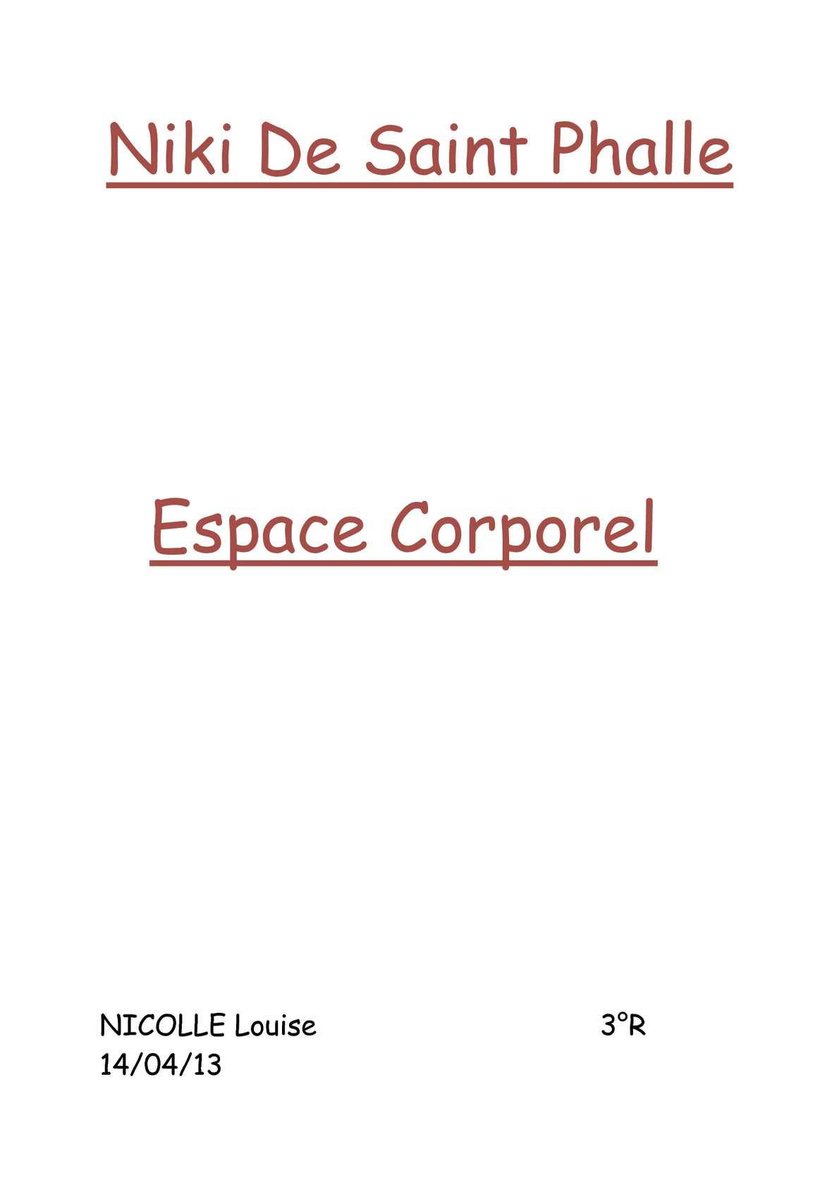 Calaméo Niki De Saint Phalle Espace Corporel
