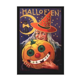 Halloween Witch with Funny Pumpkin Stretched Canvas Print