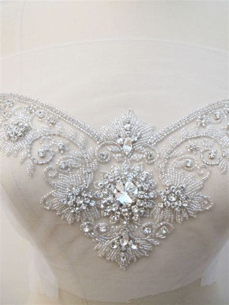 Crystal Rhinestone Applique for Sweetheart Neckline Bridal