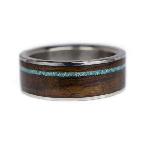 Men's Wood Wedding Band In Titanium, Ironwood, & Turquoise