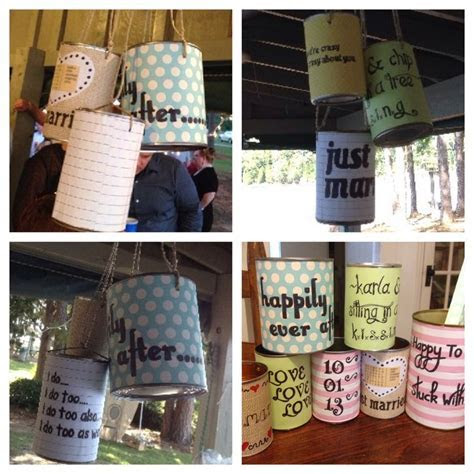 tin cans for wedding decorations and just married behind