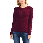 Vince Camuto Womens Popcorn Stitch Crewneck Pullover Sweater Red