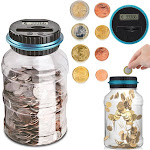 1.5L Electronic Digital LCD Counting Coin Euro Money Saving Box/Piggy Bank