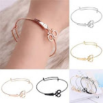 (Rose Gold) - Greendou Fashion Jewellery Minimalist Shears Scissor Bangle Stacking Adjustable Wire Bracelet for Hairdresser