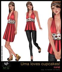 [MG fashion] Uma loves cupcakes! (coral)