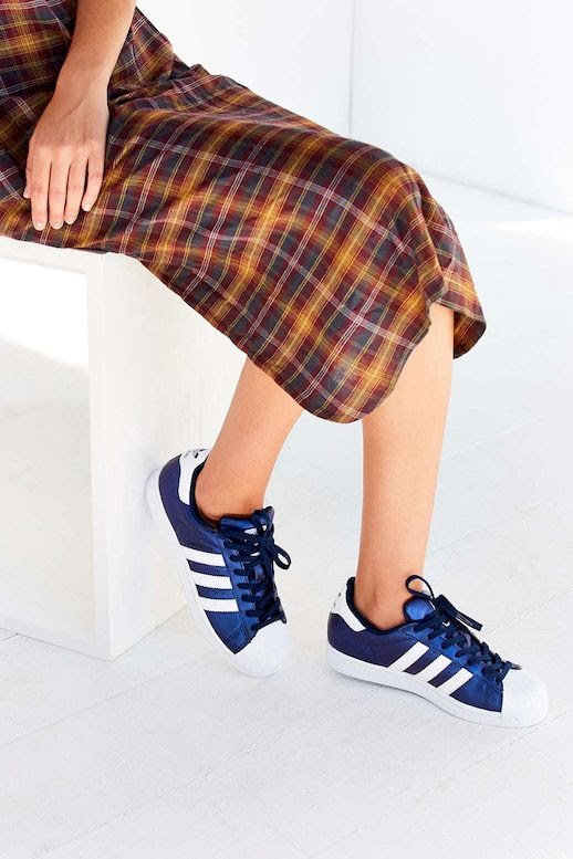 Le Fashion Blog Fall Style Plaid Print Dress Blue Adidas Metallic Superstar Sneakers Via UO