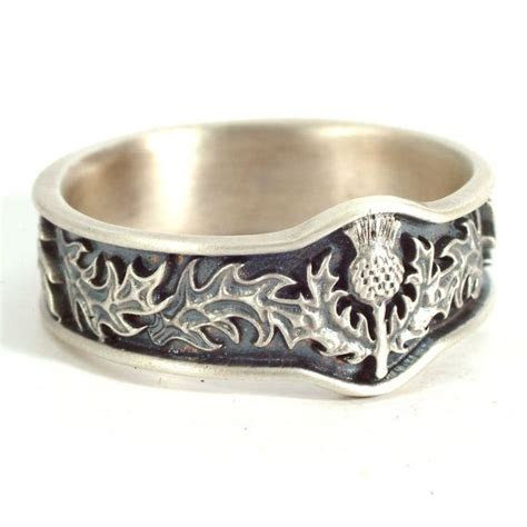 Scottish Thistle Ring with Leaves in Eternity Wedding Ring