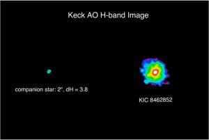 Kepler 8462852 e la sua stella binaria osservate dal telescopio di terra Keck II (da qui).