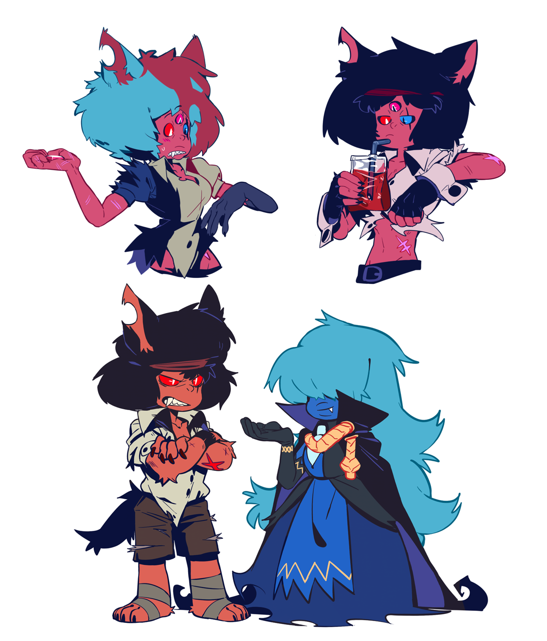 More doodles of monster gems!! ✡First two was more details of wolfpyre(?) Garnet!! ✡I was thinking about the fusion! If Garnet is half vampire, is that means when Garnet fuse with other gems, will the...