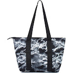"""Zodaca Large Reusable Insulated Leak Resistant Lunch Tote Carry Organizer Zip Cooler Storage Bag (Size: 15""""L x 5""""W x 10""""H) - Black Seamless Marble"""