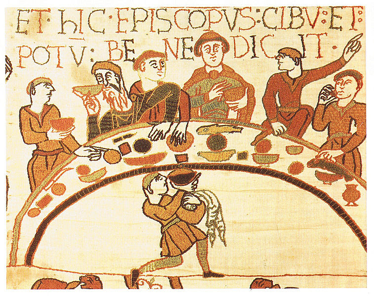 Willam the Conqueror feasts in England ahead of the Battle of Hastings (from the Bayeux Tapestry)