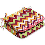 """Set of 2 Chevron Surtido Green, Pink and Orange Outdoor Patio Chair Cushions 18.5"""" by Christmas Central"""