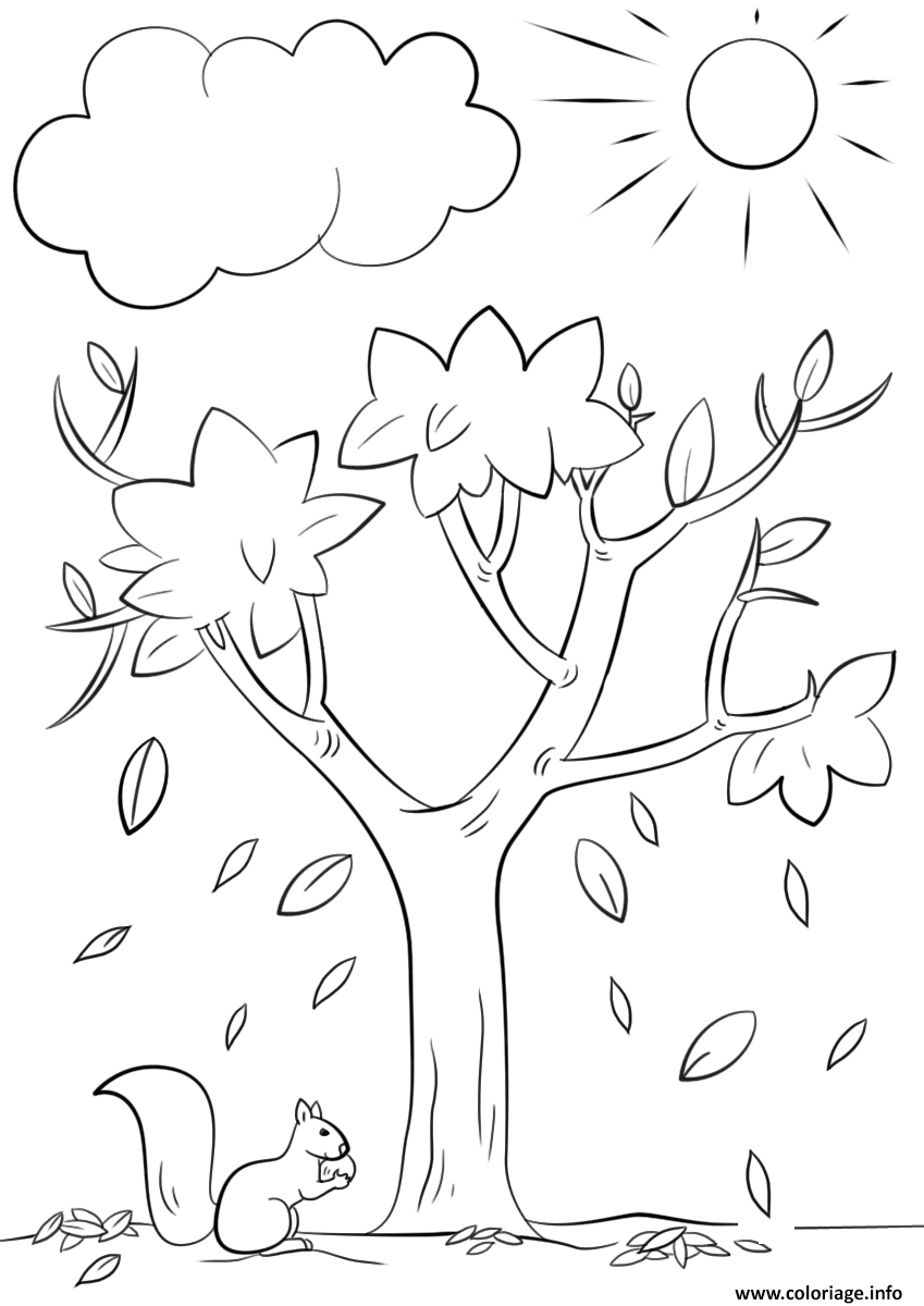 Coloriage Automne Tree Nature Jecoloriecom