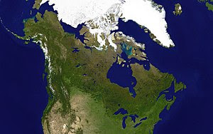 A satellite composite image of Canada.