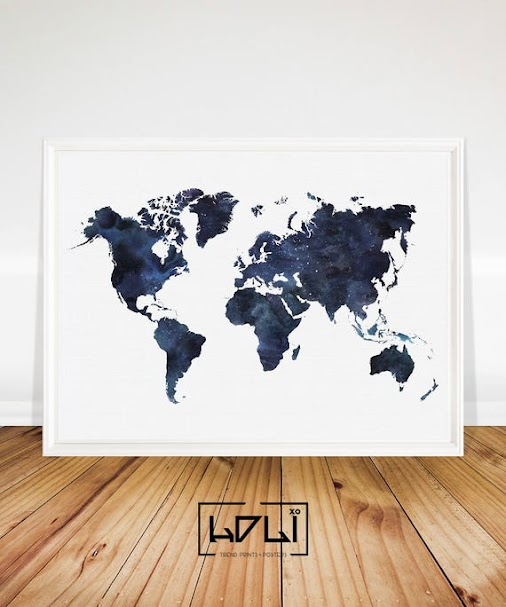 Blue World Map Printable, Watercolour World Map Print  This delightful #watercolour #world #map #print...