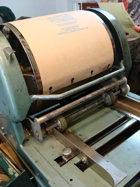 All my elementary school                   papers were printed on a mimeograph...I can still                   smell the purple ink :)
