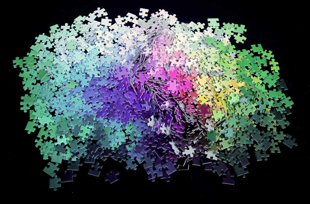 A 1,000 piece CMYK Color Gamut Jigsaw Puzzle by Clemens Habicht toys puzzles color