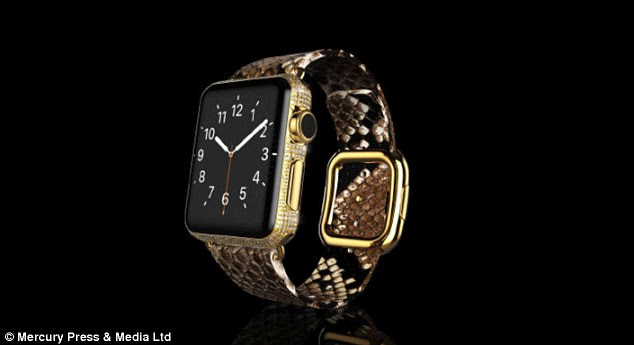 If you've got a spare £120,000 ($177,000) lying around, you might be tempted to by one of the limited edition watches from luxury electronics firm Goldgenie. Shown is a version with diamonds and a python skin strap