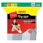 Hanes Men's Cushion Ankle Socks, White