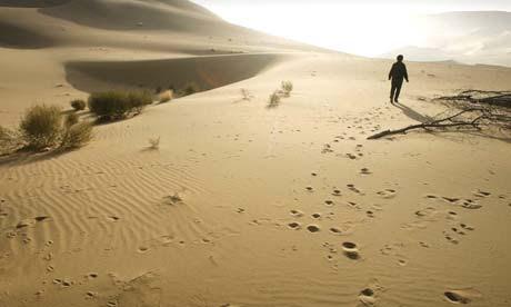 Expanding desert in Chinas Gansu province
