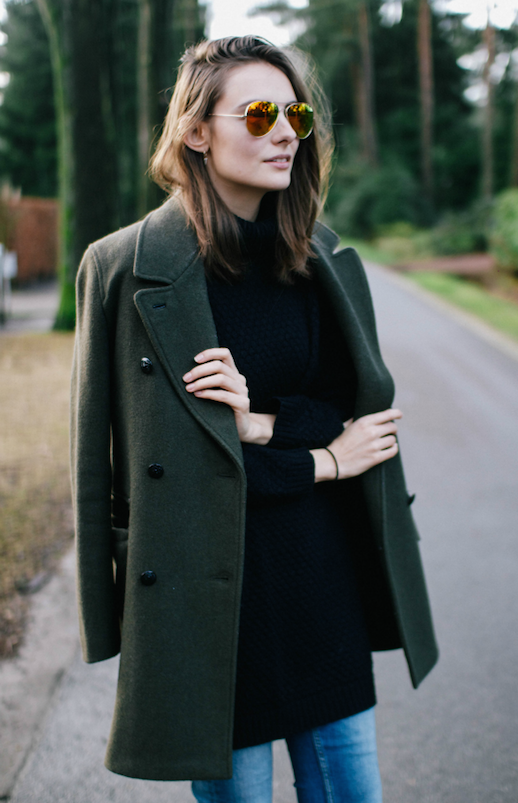 Le Fashion Blog Ways To Wear Green Jacket Fall Winter Blogger Style Wool Double Breasted Coat Aviators Denim Via Polienne Creators Of Desire
